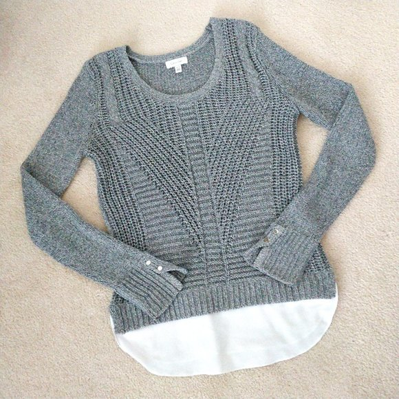 CALVIN KLEIN Layered Knit Sweater Sz XS